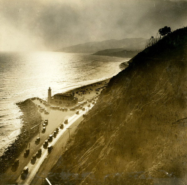 Circa 1930 view of the Roosevelt Highway (PCH) near Pacific Palisades  