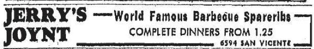 Jerry's Joynt, 6594 San Vicente near Wilshire Blvd advertisement 1947