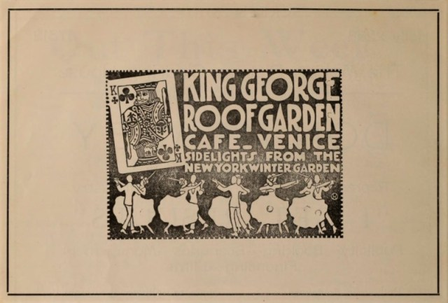 """King George Roof Garden Cafe, Venice, California """"Sidelights from the New York Winter Garden"""""""