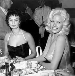 Sohia Loren & Jayne Mansfield, Romanoff's, 1957