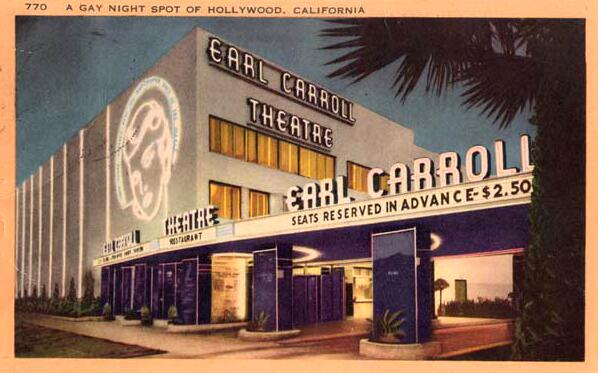 Earl Carroll Theatre color postcard