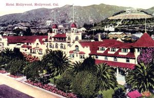 Rare colorized photo of the Hollywood Hotel showing its signature red roof.