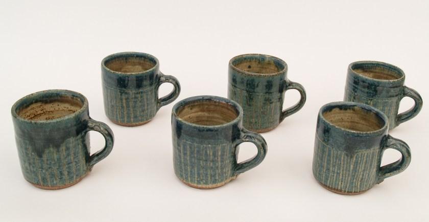Blue slip decorated mugs Martin Tyler 2017