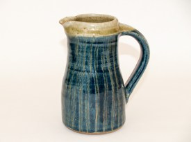 Jug with sgraffito decoration, blue and white slips, wood ash glaze, Martin Tyler 2018