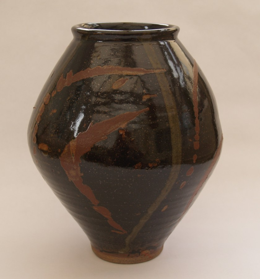 Tenmoku-glazed-moon-jar-with-rutile-and-ash-glaze-splashes-Martin-Tyler-2018