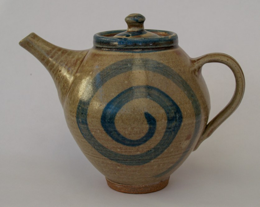 Teapot with ash glaze and blue swirls Martin Tyler 2018