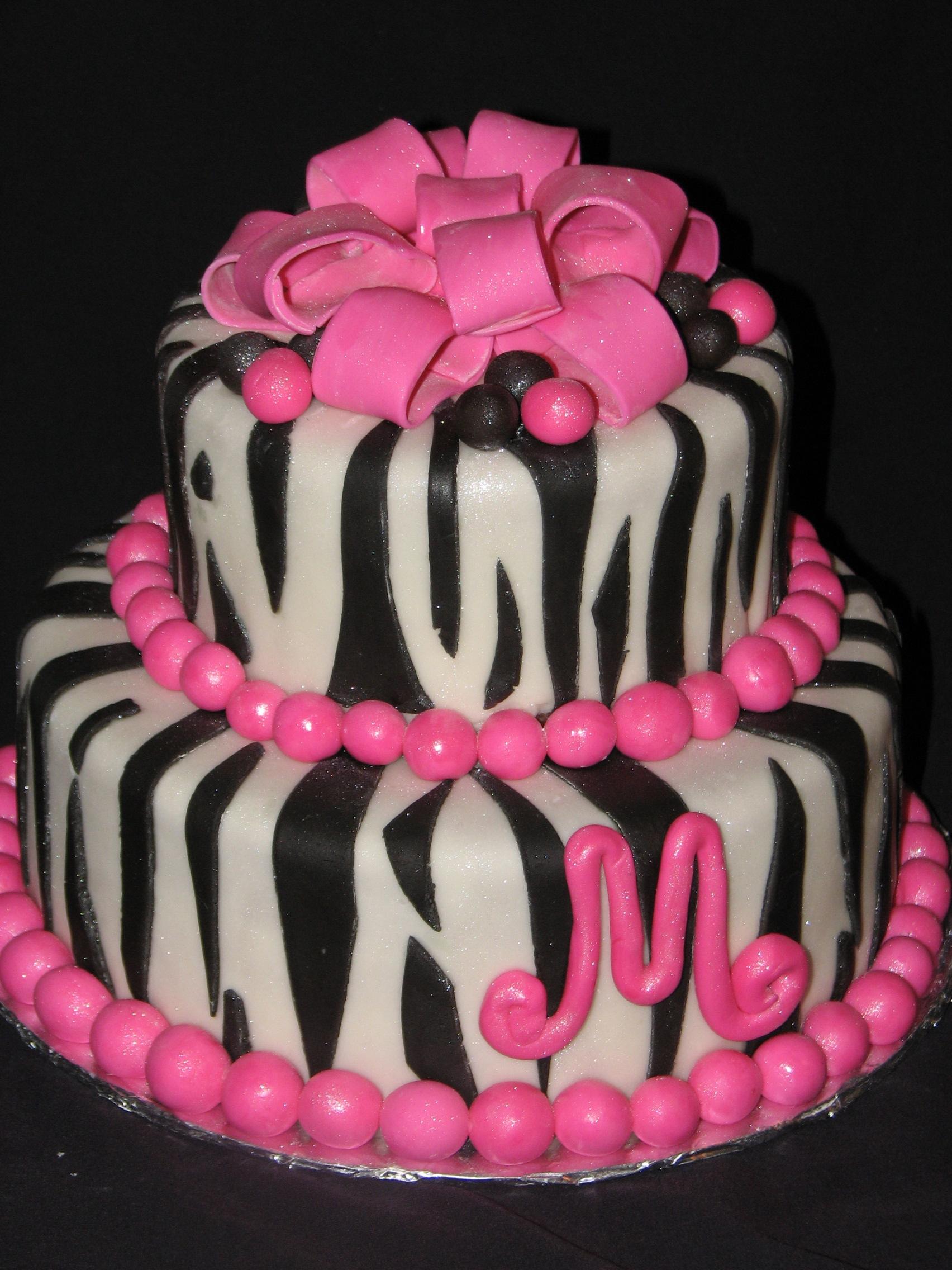 Funky Pink And Zebra Print Birthday Cake Martin Ology