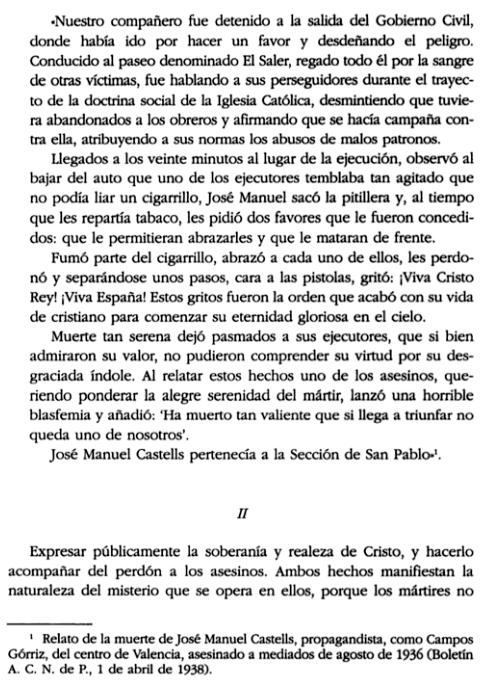 Anécdota sobre José Manuel Castells publicada en la p. 17 de No se perderá ni un ademán: Vida de Luis Campos Górriz, de Roberto Moróder.