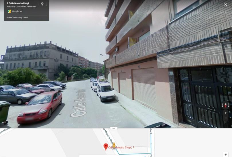 Actual n´º 7 de la calle Maestro Chapí en Valencia.