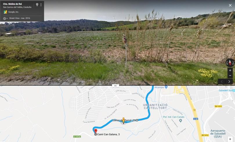 Tramo entre los km 18 y 17 de la C-1413a entre Sabadell y Rubí.