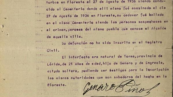 Declaración del padre de un mártir asesinado en Floresta (Lérida).