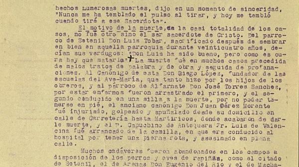Parte del informe diocesano sobre la persecución religiosa en Málaga.