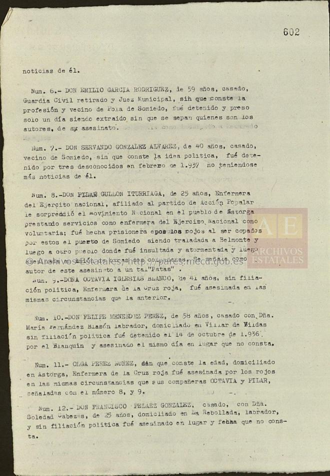 Mención de las tres enfermeras entre las víctimas de la Revolución en Pola de Somiedo (Causa General, legajo 1338, exp. 2, folio 602).