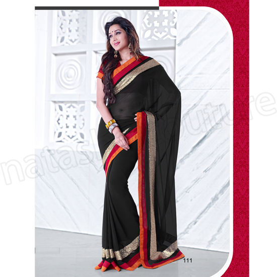 Black-Semi-Chiffon-Saree-NZK111