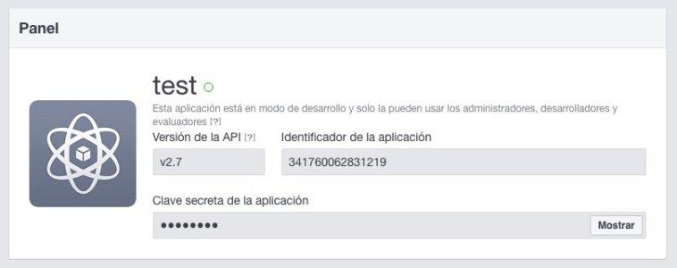 Datos de la aplicación de Facebook