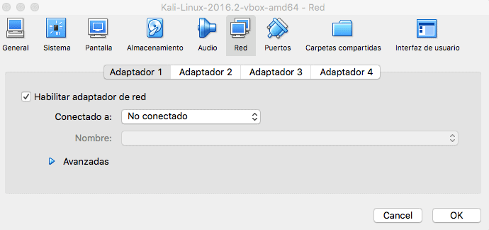 opciones de red de Kali en Virtual Box