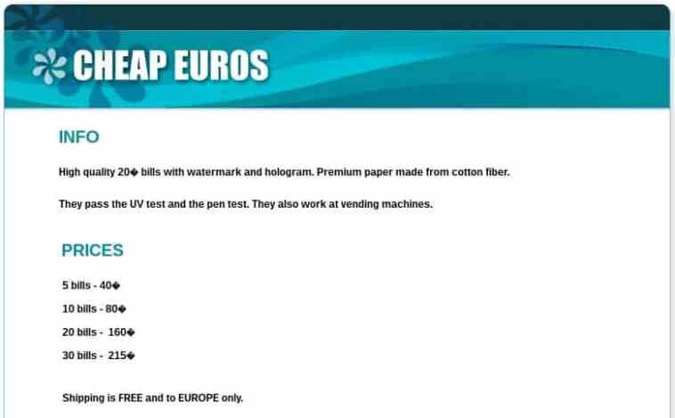 Venta de Euros Falsos en la Depp Web.