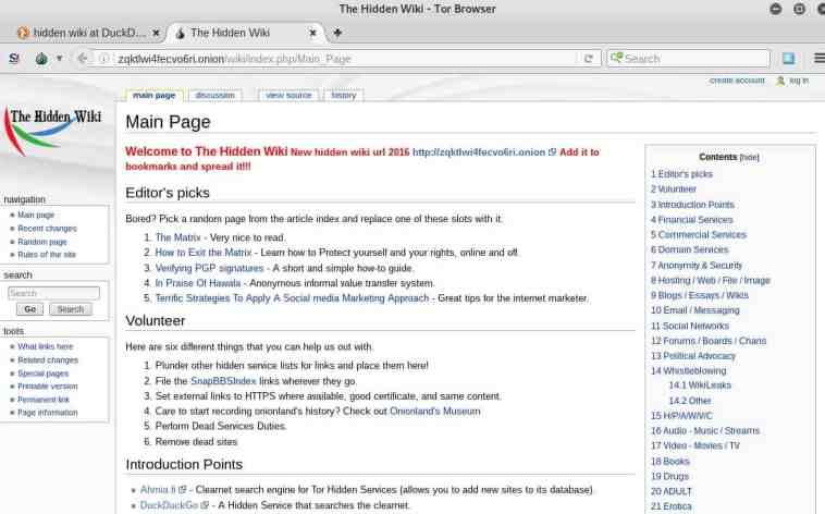Pantalla original de la hidden wiki con la URL del 2016