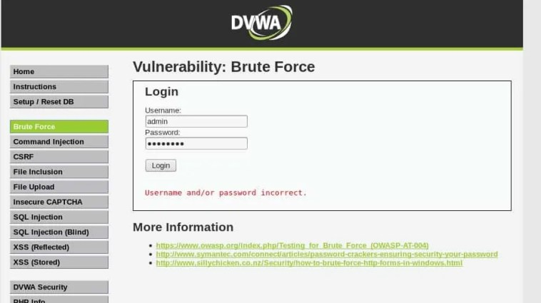 Pantalla de Brute Force de DVWA