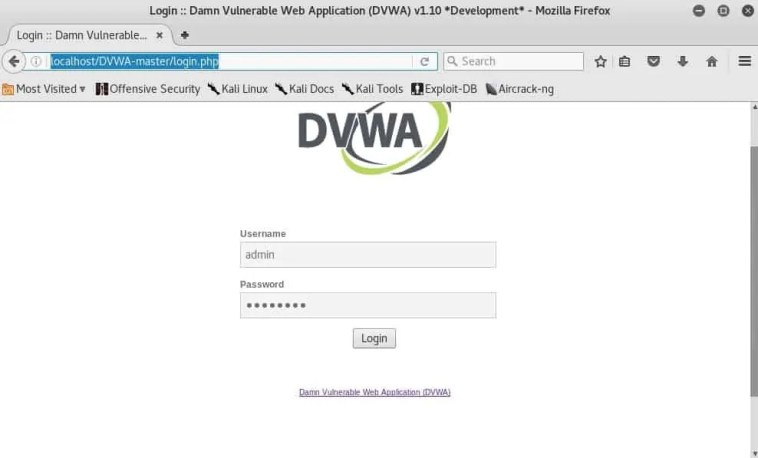 Pantalla de login de DVWA