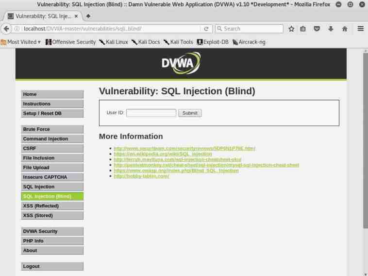 El apartado SQL Injection BLIND de DVWA