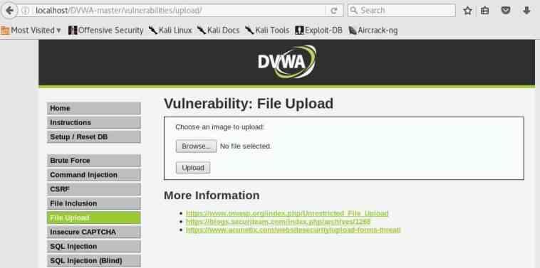 Cuadro de dialogo Upload Images en DVWA