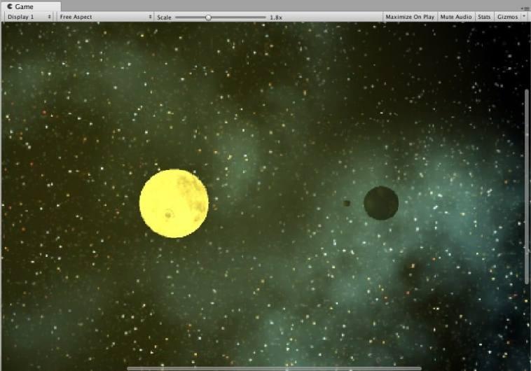 Ejemplo de la aplicación Unity con los tres planetas creados