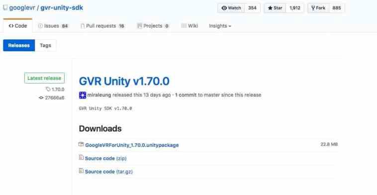 Pagina de GitHub desde donde descargamos el SDK VR de Google