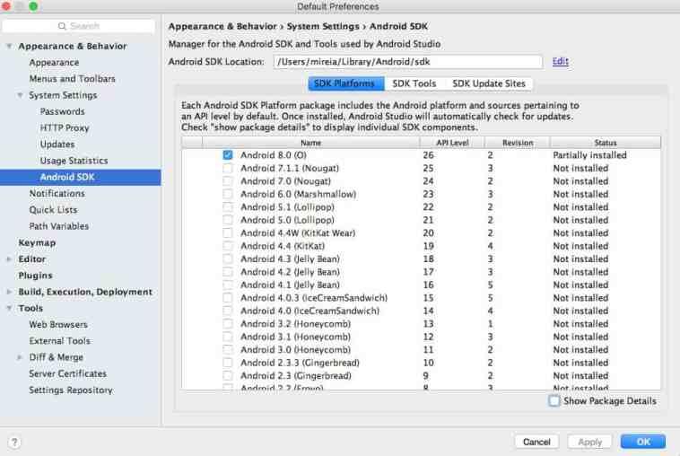 El SDK Manager nos muestra todos los SDK's disponibles.