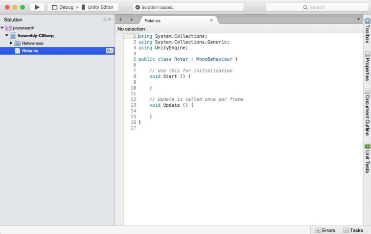 El IDE de desarrollo de Script de Unity: MonoDevelop.