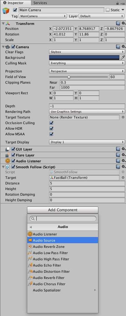 Mení Add Component -> Audio ->Audio Source