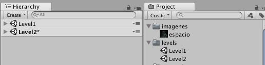 Los dos niveles del juego en la sección Project y Hierarchy.