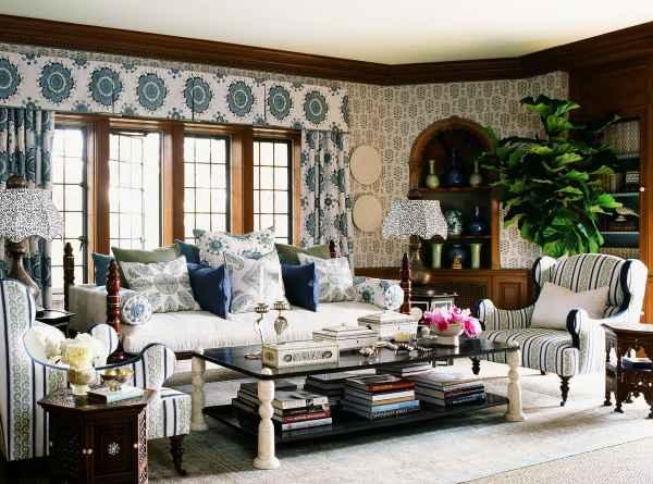 Greystone Mansion living room, designed by Martyn Lawrence Bullard. Sultan Suzanni fabric by MLB.