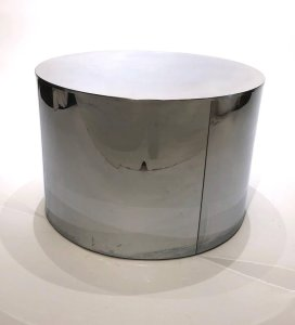 Large Chrome Drum Side Table By Curtis Jerre