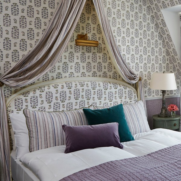 Sultans Garden lavender indoor fabric at Chateau Gutsch in Switzerland, designed by Martyn Lawrence Bullard