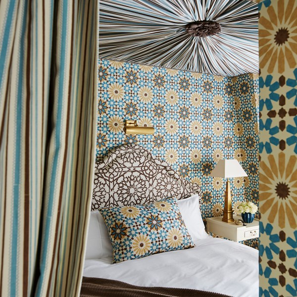 Turkish Ticking brown blue indoor fabric in bedroom at Chateau Gutsch in Switzerland. Fabric by Martyn Lawrence Bullard