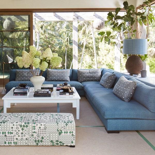Kashmir Ground Lancelot blue indoor fabric, designed by Martyn Lawrence Bullard