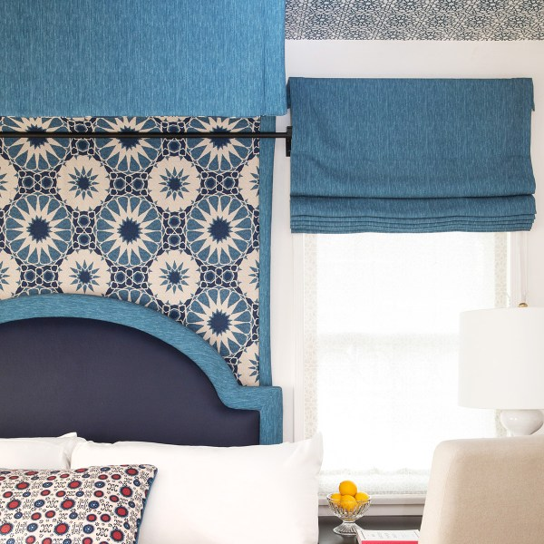 Kashmir blue, Delos & Shambala fabrics in Casa Laguna bedroom. Fabric by Martyn Lawrence Bullard