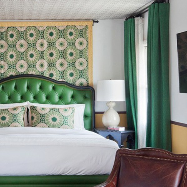 Kashmir Ground camelot green indoor fabric at the Casa Laguna Hotel & Spa, designed by Martyn Lawrence Bullard
