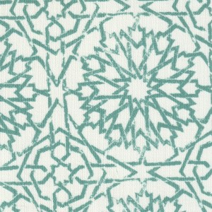 Mamounia Petite Sky teal turquoise outdoor fabric, designed by Martyn Lawrence Bullard