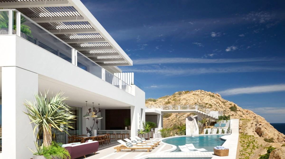 Pool area at Casa El Faro in Baja Mexicol. Designed by Martyn Lawrence Bullard.