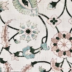 Marmaris mauve and green 100% linen indoor fabric by Martyn Lawrence Bullard.