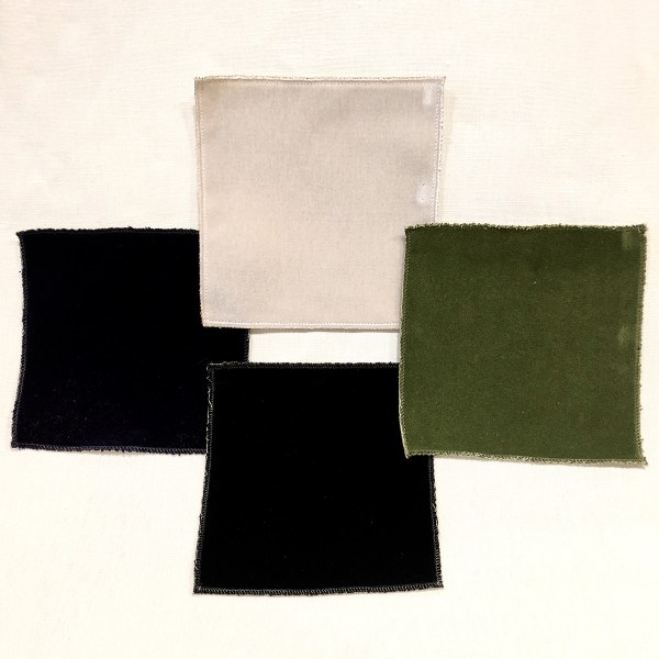 Performance velvet fabrics from Martyn Lawrence Bullard, laid out in square.