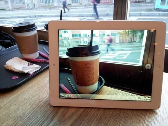 写真と実物の重複したコーヒー