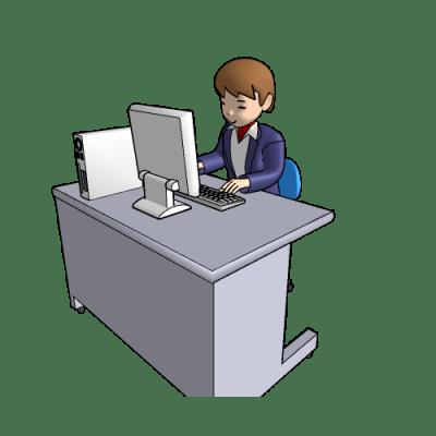 デスクトップパソコンで、作業中
