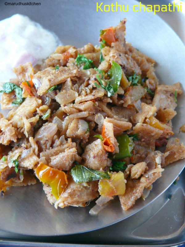 kothu chapathi recipe /with left over chapati without eggs