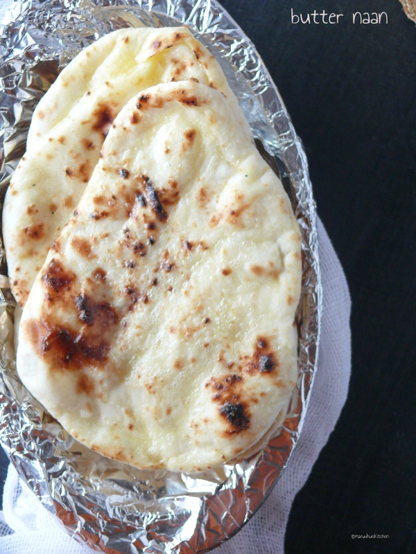 butter naan with yeast  / naan without tandoor