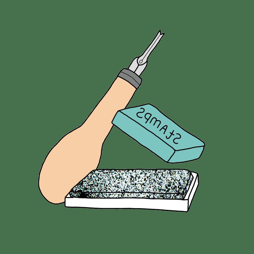 tekening van een guts, inktkussen en rubber