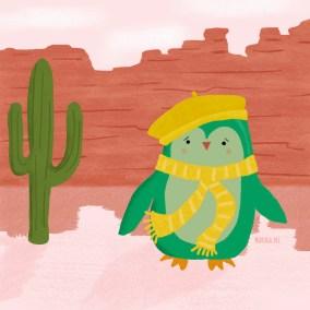illustratie groene pinguin in de woestijn