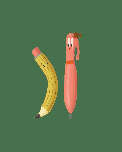 illustratie potlood en pen met lief gezichtje